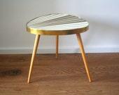 Mid Century Vintage. Sun ray coffee table. Triangle. Three leg table. Brown/cream (TA103)