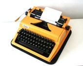 Vintage. Yellow Typewriter. Mid Century. Erika 100/105 Model. East Germany. DDR. 1980s (TY102)
