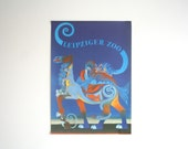 Original Zoo Advertising Poster- Leipzig (GDR/East Germany) 1970s - Blue mixed animal design (P110)