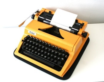 SALE 30% off! -  Vintage. Yellow Typewriter. Mid Century. Erika 100/105 Model. East Germany. DDR. 1980s (TY102)