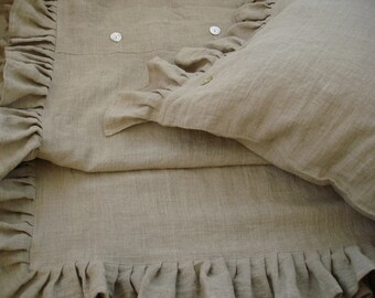 DUVET COVER with Ruffles - Ruffle duvet cover Linen - Ruffled  bedding - Natural duvet cover - French style beroom - Ruffle chic