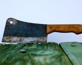 Vintage Italian meat cleaver with wooden handle
