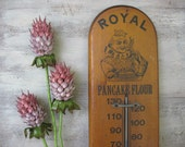 Royal Pancake Flour thermometer, antique advertising, wood vintage thermometer