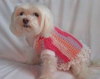 Small Dog Sweater - Peachy Pink ruffle