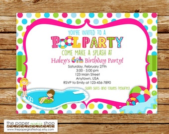 Pool Party Invitation | Pool Party Birthday Invitation | Pool Party | Summer Party | Kids Pool Party | Pool Birthday Party