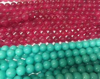 8mm round colorful jade gem beads,full strand, 45 beads