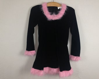 pink black fuzzy furry dress size S