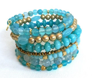 Aqua & Gold Seven Layer Wrap beaded memory wire bracelet, Jade, crab agate, Brazilian Aquamarine, Apatite, Calcedony stacked bangle