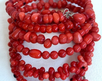 Cherry Red Sea Coral multi layer stacked bangle cuff memory wire bracelet, scarlet beads six layered wrap
