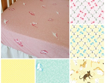 Organic Crib Sheet- Cattitude - Kitties, Cats, Toddler Sheet, Crib Sheet, Fitted Crib Sheet, Organic, Kittens, Yellow, Blue, Pink,