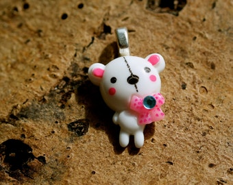 Cute white teddy bear pendant with diamante detail by MillyPops, chain supplied - Kawaii, Fairy Kei, Decora, Sweet Lolita, Harajuku