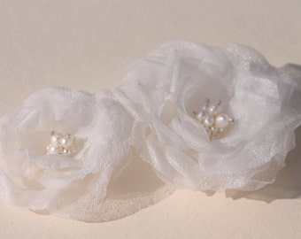 Bridal Headpiece, Wedding Headpiece, Bridal Hair Piece, Silk Flower Fascinators, Set of Two, Wedding Accessories