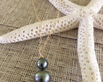 Tahitian Pearl hombre triple stacked Gold necklace