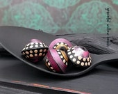Matte Finish Ebony Pink Pearl Polymer Bicone Bead Set - Moroccan Style Boho Gypsy Bead Set - 13mm - Pkg. 4