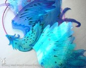 Blue Phoenix Suncatcher, 3D iridescent suncatcher with clear suction cup fitting