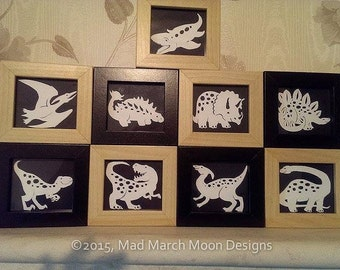 Mini Dino papercut Template set, personal use, fits 8cm x 9cm size, 9 dinosaurs from an A4 sheet, fits the tysslinge ikea frames