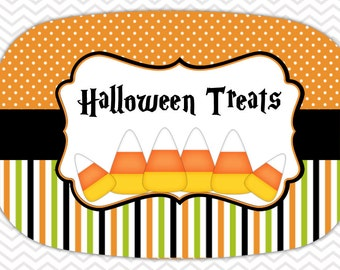 Personalized Platter - Custom Tray with Candy Corn - Personalized Halloween Candy Corn Serving Platter - Custom Melamine Platter