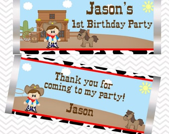 Cowboy - Personalized Candy Bar Wrapper