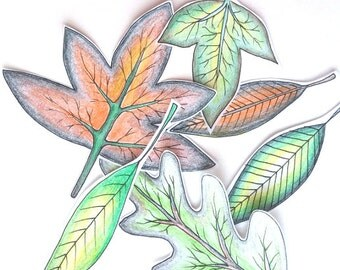 Leaf Cutouts. Handdrawn Colouring Design, mixedmedia cutout ,stress free, downloadable, printable