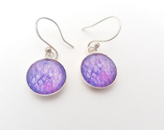 Earrings, Sterling silver STUDS. prints of my original paintings. Purple Abstract