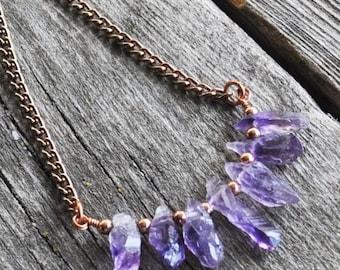 Rough Amethyst Chip Minimalist Gemstone February Birthstone Handmade Copper Necklace