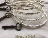Hold Your Own Key Brave Girl Sterling Stacking Bracelet by ShesSoWitte