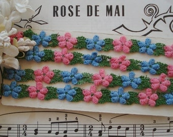 """1y Vintage 1/2"""" Schiffli Venise Pink Blue Petite Daisy Flower Applique Lace Embroidered Trim French Doll Ribbon Novelty Sewing"""