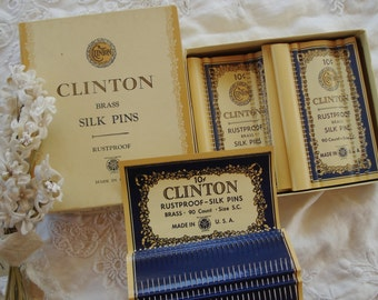 Vintage Clinton Brass Silk Pins Needle Paper Case Card Pack Millinery Sewing Notions Ribbon Trim Velvet Advertising Notions Hat Dress