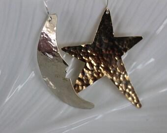 Star Moon Earrings Lg