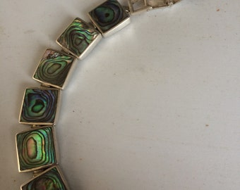Vintage jewelry sterling abalone deco 36 gram bracelet