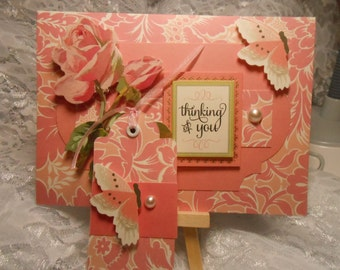 Card - THINKING OF YOU - With Gift Tag - Handmade - Blank Inside