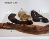 Destash real fur pieces, Dark Ranch Mink Collar, Red Fox Fur Tail, Coat Skirt Fur Trim, Long Fur Collar