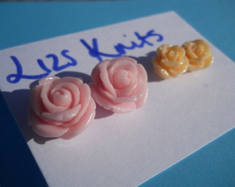 Rose Cabachon Ear Studs Pairs Earrings