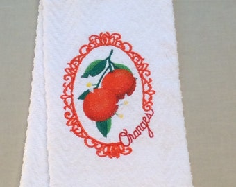 """Embroidered Kitchen Towel - """"Free Shipping"""" -  Dish Towel, Tea Towel - Fruit Cameo - Oranges -  Handmade"""