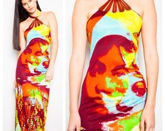 S.U.P.E.R S.A.L.E was 950 now 650 iconic vintage 90s Jean Paul GAULTIER pop art face print leather trim halter dress