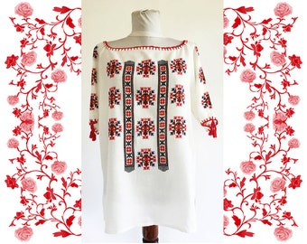 1970's Vintage Hand Embroidered Romanian Blouse