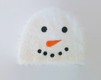 Baby Snowman Hat with Polymer Clay Buttons