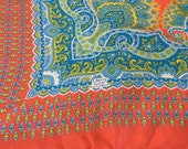 Vintage Liberty of London Silk Scarf, Liberty Made n England, Orange with Turquoise Paisley, Unusual Design, 1980s