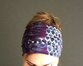 purple long head scarf wraparound headband thin headwrap hair accessories jersey head wrap hair headscarf stretch headwrap