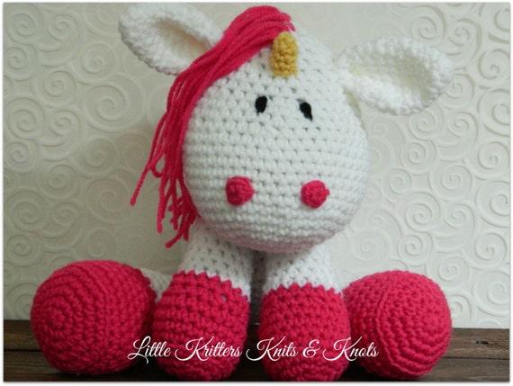 Crochet Amigurumi Stuffed Huggable Toy Unicorn
