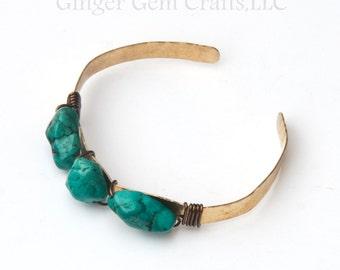 Turquoise bangle, Turquoise bracelet, hammered, hammered cuff, gemstone bracelet, healing bracelet, crystal cuff, crystal bracelet