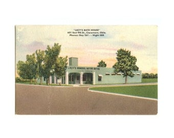Lacy's Bath House Postcard - Vintage - Radium Town, OK - Mineral Waters and Colon Therapy - Oklahoma Souvenir