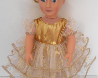 Beautiful Gold Dress for American Girl and 18 inch Dolls