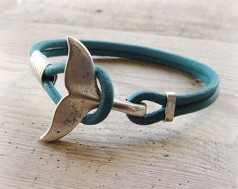 Whale Tail Bracelet - Turquoise Nautical Bracelet Beach Jewelry Leather and Metal