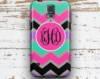 Monogram chevron Samsung Galaxy S5 case, Cute S6 case, Girl's S4 case, Chevron S3 case, Multicolor chevron purple pink turquoise (1069)