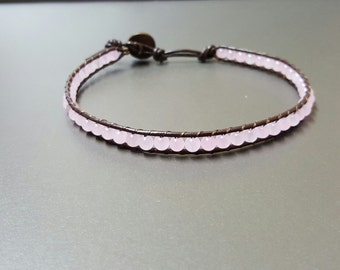 Sweet  Rose Quartz  Leather Anklet
