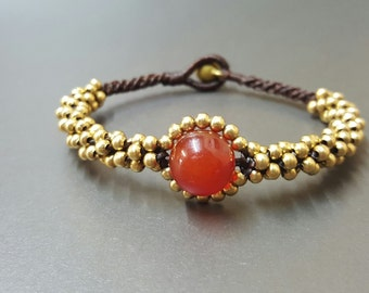 Big Eye Carnelian  Brass Bracelet