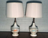 Pair Mid-Century Modern Table Lamps With Shades - Great Mad Men / Eames Era Decor *SHIPPING NOT INCLUDED*