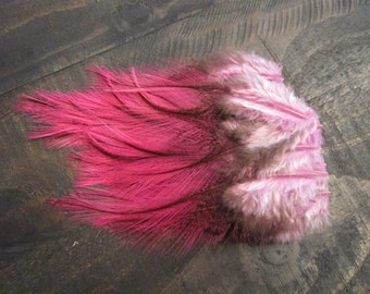 12 Pink Rooster Saddle Feathers ~ Cruelty Free **Use Coupon Code FEATHERS20 and save 20% on all Feathers**