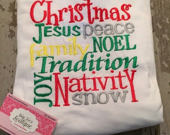 Christmas Block Lettering Embroidered Shirt